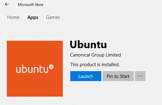 Ubuntu on Windows Microsoft Store Launch
