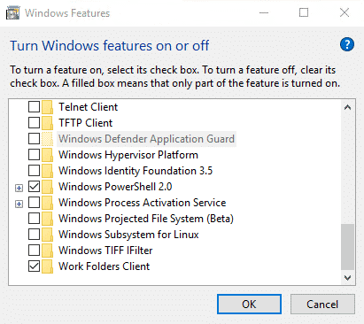 windows features turn off wsl