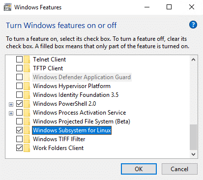 windows features turn on wsl