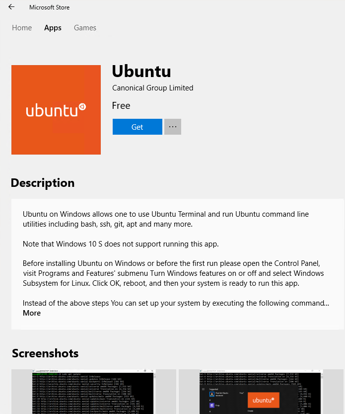 Ubuntu on Windows Microsoft Store wsl