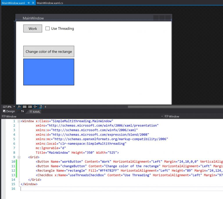 c# threads demonstration layout