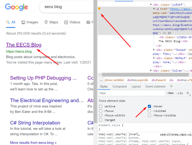 chrome dev tools force element state 2