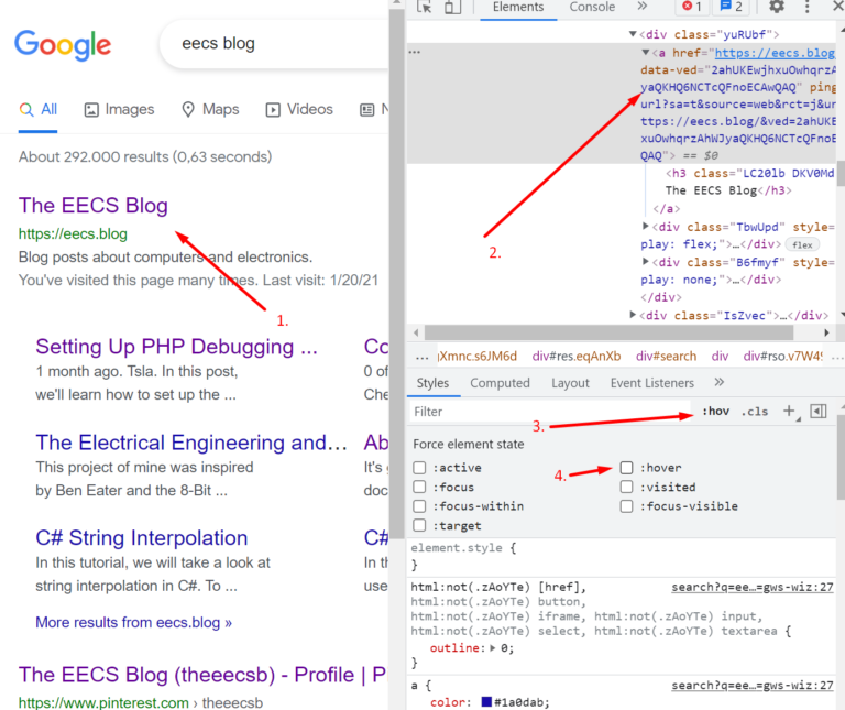 chrome dev tools force element state