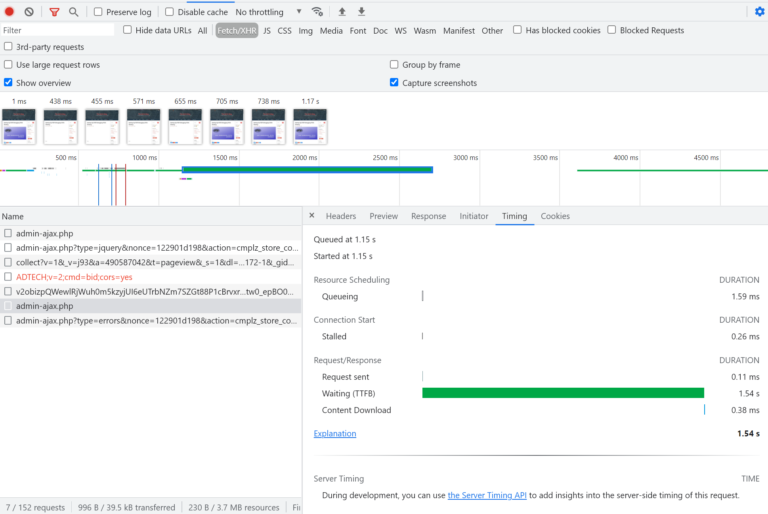 chrome dev tools networking request timing